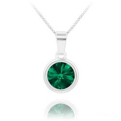 Collier Rivoli en Argent et Cristal Vert Émeraude