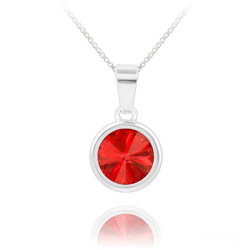 Collier Rivoli en Argent et Cristal Rouge Light Siam