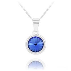 Collier Rivoli en Argent et Cristal Bleu Saphir