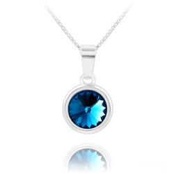 Collier Rivoli en Argent et Cristal Bleu Bermude