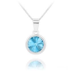 Collier Rivoli en Argent et Cristal Bleu