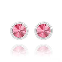 Clous d'Oreilles Rivoli 6mm en Argent et Cristal Rose