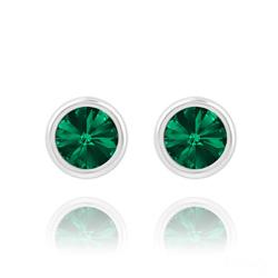 Clous d'Oreilles Rivoli 6mm en Argent et Cristal Vert Émeraude