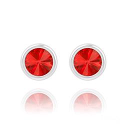 Clous d'Oreilles Rivoli 6mm en Argent et Cristal Rouge Light Siam