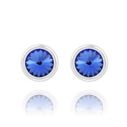 Clous d'Oreilles Rivoli 6mm en Argent et Cristal Bleu Saphir