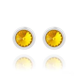 Clous d'Oreilles Rivoli 6mm en Argent et Cristal Sun Flower