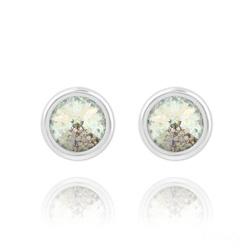 Clous d'Oreilles en Cristal et Argent Clous d'Oreilles Rivoli 6mm en Argent et Cristal White Patina