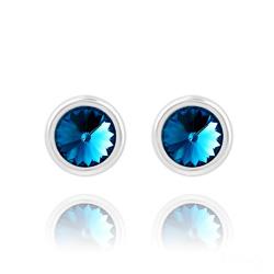 Clous d'Oreilles Rivoli 6mm en Argent et Cristal Bleu Bermude