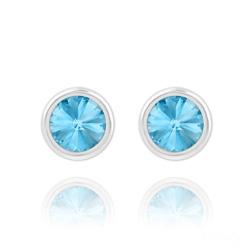 Clous d'Oreilles Rivoli 6mm en Argent et Cristal Bleu