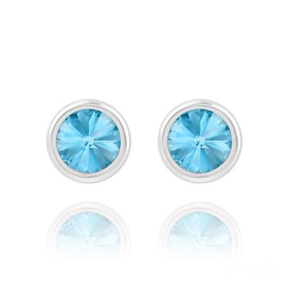 Clous d'Oreilles en Cristal et Argent Clous d'Oreilles Rivoli 6mm en Argent et Cristal Bleu