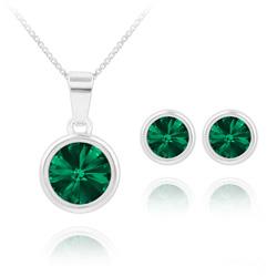 Parure Rivoli en Argent et Cristal Vert Émeraude