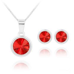 Parure Rivoli en Argent et Cristal Rouge Light Siam