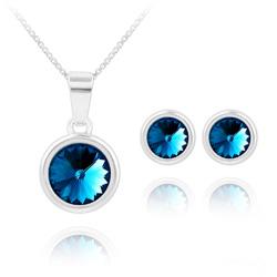 Parure Rivoli en Argent et Cristal Bleu Bermude