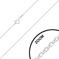 Chaîne en Argent Maille Forçat Rond 1mm / 50cm