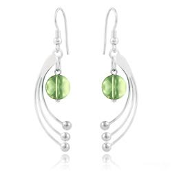 Boucles d'Oreilles Sphera en Argent et Cristal Vert Péridot