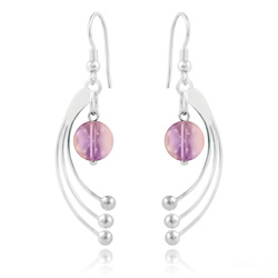 Boucles d'Oreilles Sphera en Argent et Cristal Lilac Shadow