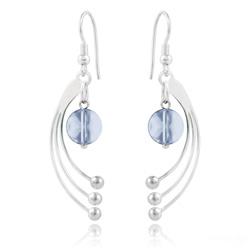 Boucles d'Oreilles Sphera en Argent et Cristal Blue Shade