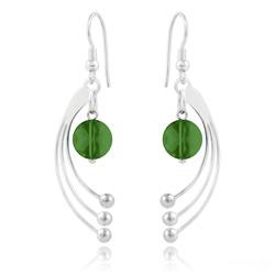 Boucles d'Oreilles Sphera en Argent et Cristal Fern Green