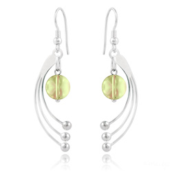 Boucles d'Oreilles Sphera en Argent et Cristal Luminous Green