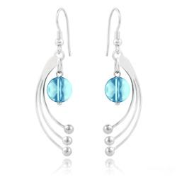 Boucles d'Oreilles Sphera en Argent et Cristal Bleu