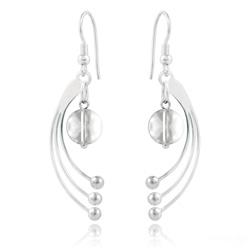 Boucles d'Oreilles Sphera en Argent et Cristal Blanc