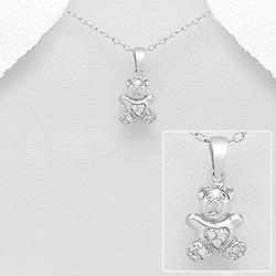 Pendentif Petit Ourson en Argent et Diamant Cz Blanc