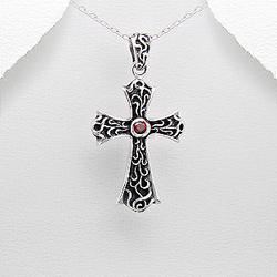 Pendentif Croix et Argent et Diamant CZ Rouge