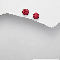 Boucles d'Oreilles Demi-Sphère en Argent et Cristal Rouge