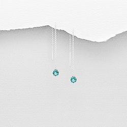 Chaînes d'Oreilles en Argent et Diamant CZ Bleu