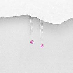 Chaînes d'Oreilles en Argent et Diamant CZ Rose