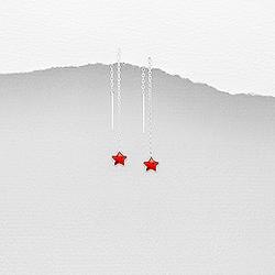 Chaînes d'Oreilles Étoile en Argent et Diamant CZ Rouge