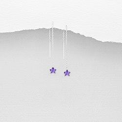 Chaînes d'Oreilles Étoile en Argent et Diamant CZ Violet