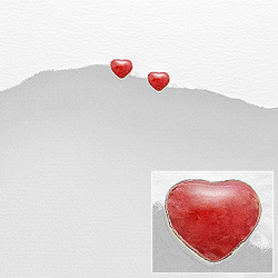 Boucles d'Oreilles en Argent Coeur de Corail Éponge
