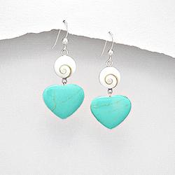 Boucles d'Oreilles Oeil de Shiva et Coeur de Turquoise