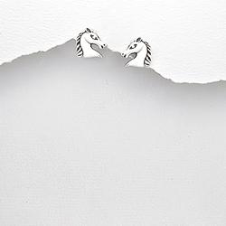 Boucles d'Oreilles Cheval en Argent