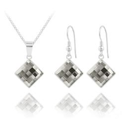 Parure Chessboard 10MM en Argent et Cristal Black Diamond