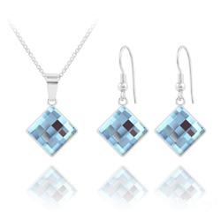 Parure Chessboard 10MM en Argent et Cristal Bleu