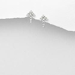 Boucles d'Oreilles Flèche en Argent et Cristal Blanc