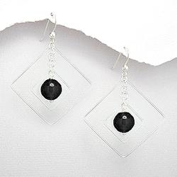Boucles d'Oreilles Design Carré en Argent et Onyx Noir