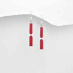 Boucles d'Oreilles Design en Argent et Résine Rouge