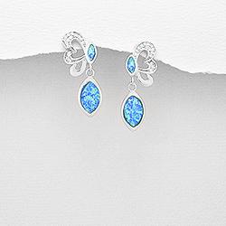 Boucles d'Oreilles Papillon sur Goutte en Argent et Opale