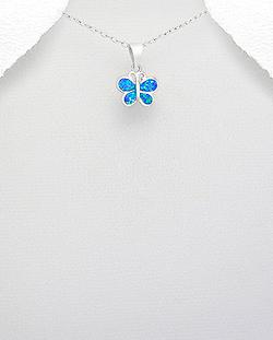 Pendentif Petit Papillon en Argent et Opale