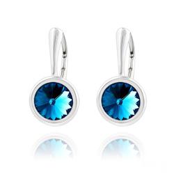 Boucles d'Oreilles Rivoli 8mm Dormeuses en Argent et Cristal Bleu Bermude