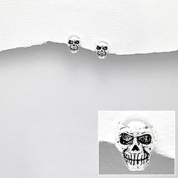 Boucles d'Oreilles T�te de Mort en Argent