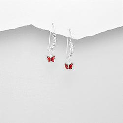 Boucles d'Oreilles en Argent Papillon Rouge