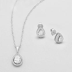 Parure Goutte en Argent et Diamant CZ