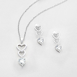Parure Coeur en Argent et Diamant CZ