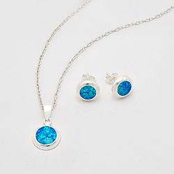 Parure Ronde en Argent et Opale Bleu