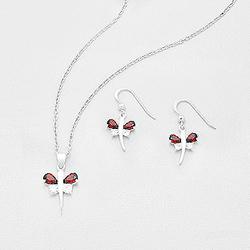 Parure Papillon en Argent et Diamant CZ Rouge