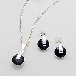 Parure Design en Argent et Diamant CZ Noir